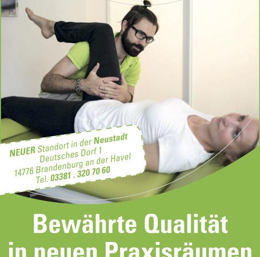 Neueröffnung Standort Brandenburg Neustadt Promnitz Physiotherapie