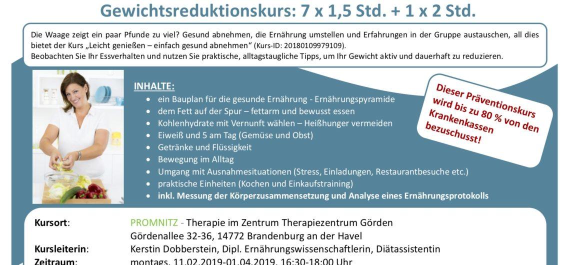 Präventionskurs Gewichtsreduktion Promnitz Physiotherapie