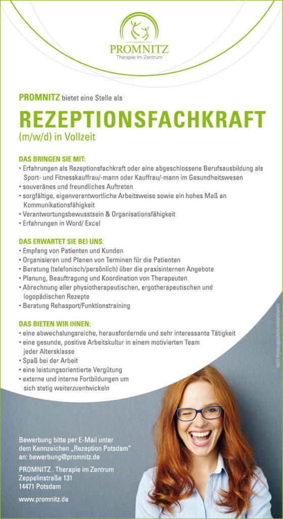 Gesucht Rezeptionsfachkraft Potsdam Physiotherapie