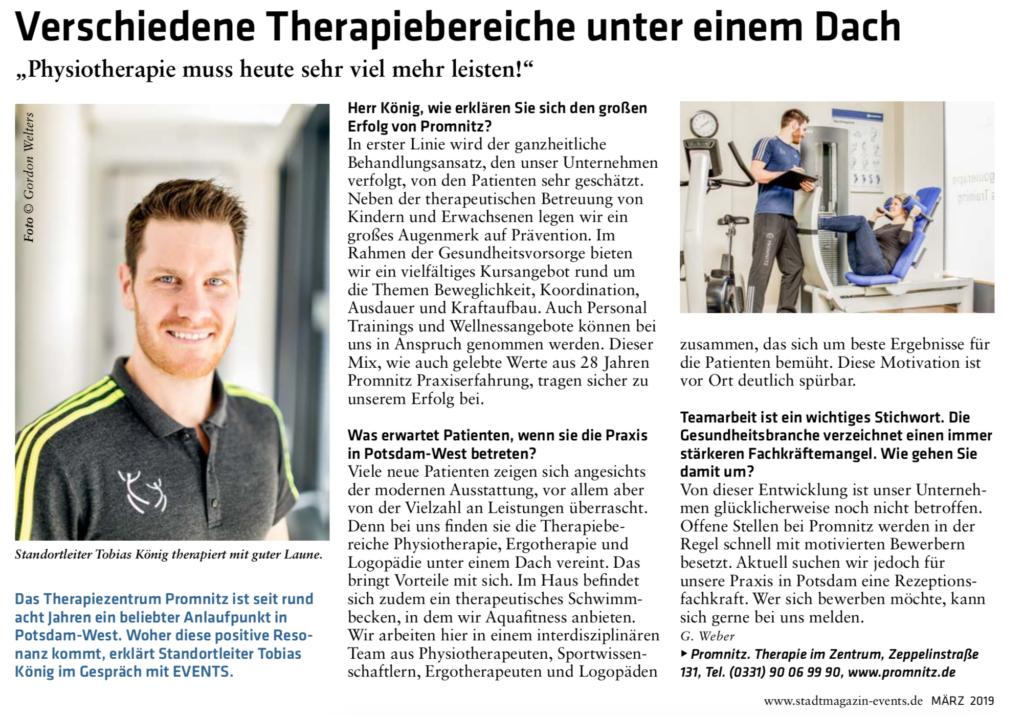 Presseanzeige Therapiezentrum PROMNITZ Potsdam