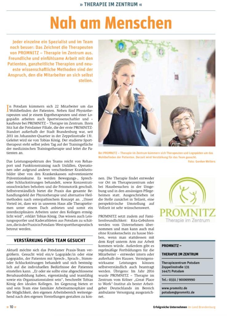 Presseanzeige Logopädie PROMNITZ Potsdam Blickpunkt November 2018